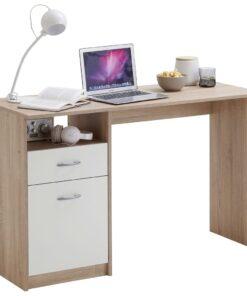 FMD skrivebord med 1 skuffe 123 x 50 x 76,5 cm egetræsfarve og hvid