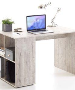 FMD skrivebord med sidehylder 117 x 73 x 75 cm sand-egetræsfarve