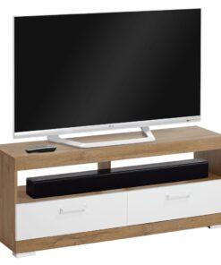 FMD tv-bord antik egetræsfarve og blank hvid