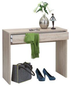 FMD skrivebord med bred skuffe 100 x 40 x 80 cm egetræsfarve