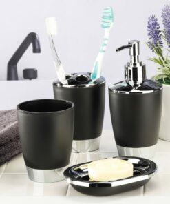 HI tilbehørssæt til badeværelset 4 dele sort og sølvfarvet