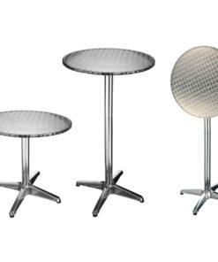 HI foldbart bistrobord i aluminium rund 60 x 60 x (58-115) cm