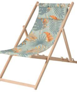 Madison strandstol Dotan i træ blå og orange