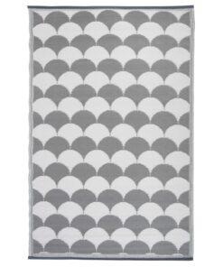 Esschert Design udendørstæppe med grafik-design 180 x 121 cm grå og hvid OC24