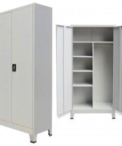 vidaXL skab med 2 låger 90 x 40 x 180 cm stål grå