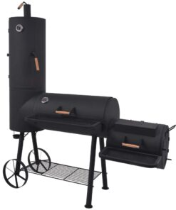 vidaXL BBQ røggrill til kul med bundhylde sort robust XXL