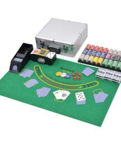 vidaXL pokersæt/blackjacksæt med 600 laserchips aluminium