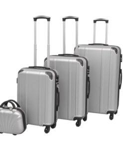 vidaXL hardcase trolleysæt fire dele sølvfarvet