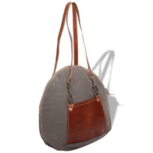 vidaXL håndtaske i kanvas og ægte læder grå