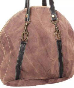 vidaXL håndtaske i kanvas og ægte læder brun