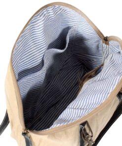 vidaXL håndtaske i kanvas og ægte læder beige