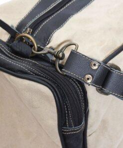 vidaXL weekendtaske i kanvas og ægte læder beige