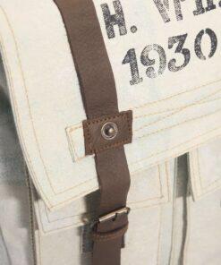 vidaXL skuldertaske i kanvas og ægte læder cremefarvet