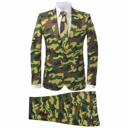 vidaXL jakkesæt og slips til mænd kamuflage str. 46