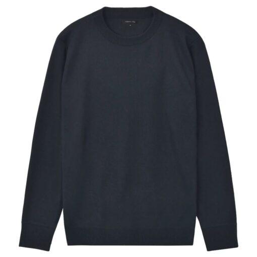 vidaXL pulloversweater til mænd rund hals marineblå XL