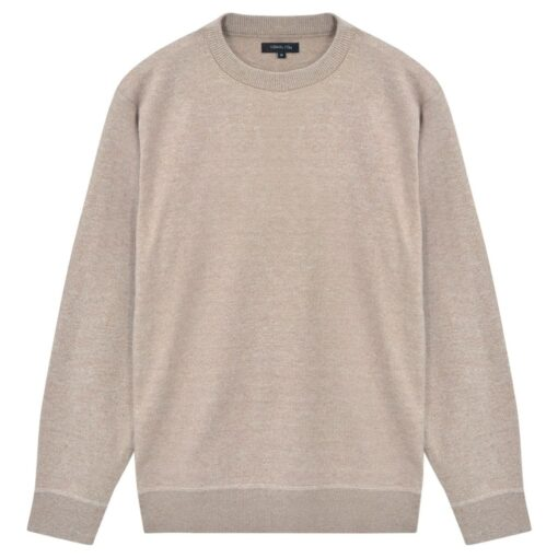 vidaXL pulloversweater til mænd rund hals beige XL