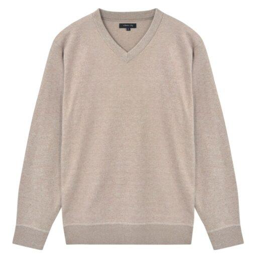 vidaXL herresweater pullover V-hals beige XXL