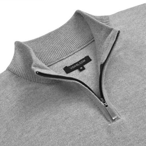 vidaXL herresweater pullover med lynlås grå XL