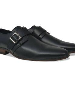 vidaXL herre monksko med spænde sort størrelse 43 PU-læder
