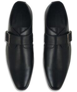 vidaXL herre monksko med spænde sort størrelse 44 PU-læder