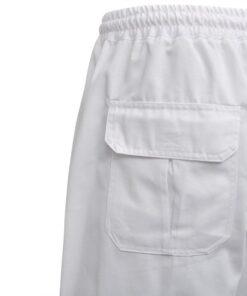 vidaXL kokkebukser 2 stk. strækbar linning med snor str. XXL hvid