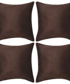 vidaXL pudebetræk 4 stk. 80×80 cm polyester imiteret ruskind brun
