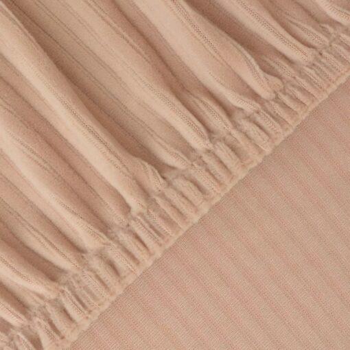vidaXL elastisk sofabetræk beige bredstribet