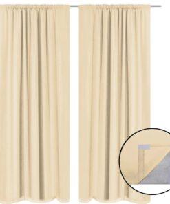 vidaXL mørklægningsgardiner 2 stk. dobbelt stoflag 140 x 175 cm beige
