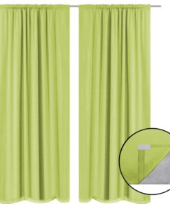 vidaXL mørklægningsgardiner 2 stk. dobbelt stoflag 140 x 245 cm grøn