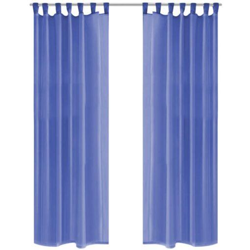 vidaXL voile-gardiner 2 stk. 140×225 cm kongeblå