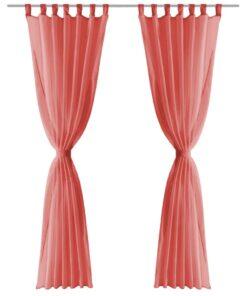 vidaXL voile-gardiner 2 stk. 140×225 cm rød