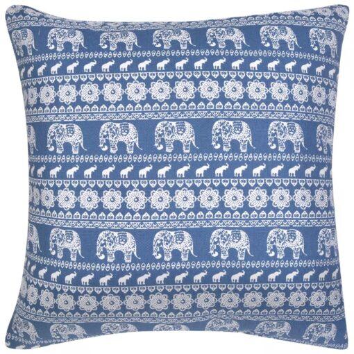 vidaXL pyntepuder 2 stk. kanvas elefantprint blå 45 x 45 cm