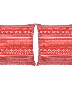 vidaXL pyntepuder 2 stk. kanvas aztekerprint rød 45 x 45 cm