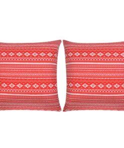 vidaXL pudebetræk 2 stk. canvas aztekerprint rød 80 x 80 cm