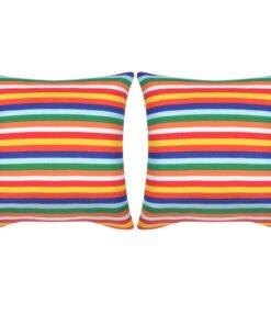 vidaXL pyntepuder 2 stk. kanvas print med smalle striber 45 x 45 cm