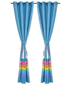 vidaXL mørklægningsgardiner med print til børn 2 stk. 140×240 cm blå
