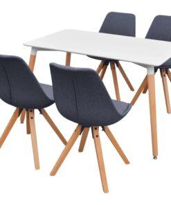 243573 vidaXL Spisebord og Stolesæt fem dele hvid og mørkegrå