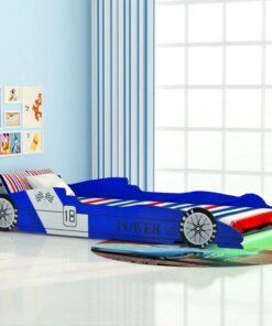 vidaXL LED racerbilseng til børn 90 x 200 cm blå