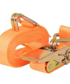 vidaXL surringsbånd med skralde 4 stk. 0,4 ton 6 m x 25 mm orange