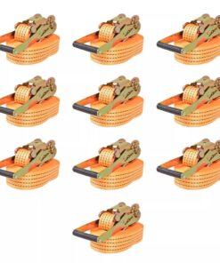 vidaXL surringsbånd med skralde 10 stk. 2 ton 8 m x 50 mm orange