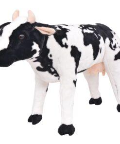 vidaXL stående legetøjsko plys sort og hvid XXL