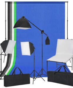 vidaXL fotostudiesæt med fotobord, lys og baggrunde