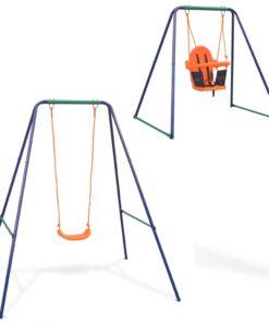 vidaXL 2-i-1 enkeltgynge og småbørnsgynge orange