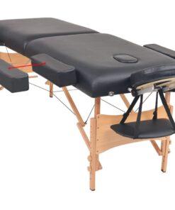 vidaXL foldbart 2-zoners massagebord 10 cm tykt sort