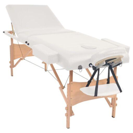 vidaXL foldbart 3-zoners massagebord 10 cm tykt hvid