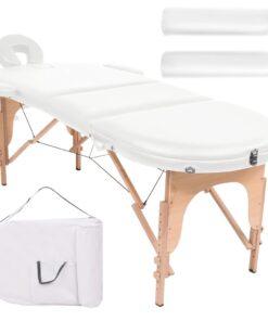 vidaXL foldbart massagebord 10 cm tykt med 2 puder oval hvid