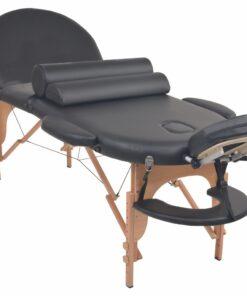vidaXL foldbart massagebord 10 cm tykt med 2 puder oval sort