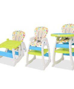 vidaXL 3-i-1 konvertibel højstol med bord blå og grøn
