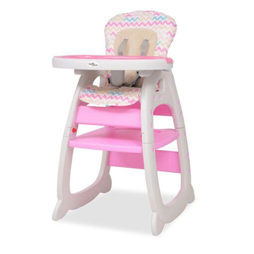 vidaXL 3-i-1 konvertibel højstol med bord lyserødt