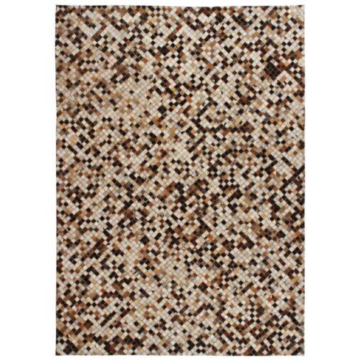 vidaXL tæppe ægte kolæder patchwork 80 x 150 cm firkantet brun/hvid